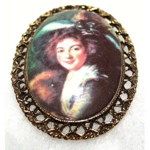 Vintage Brooch Pin Cameo Woman Wearing Hat
